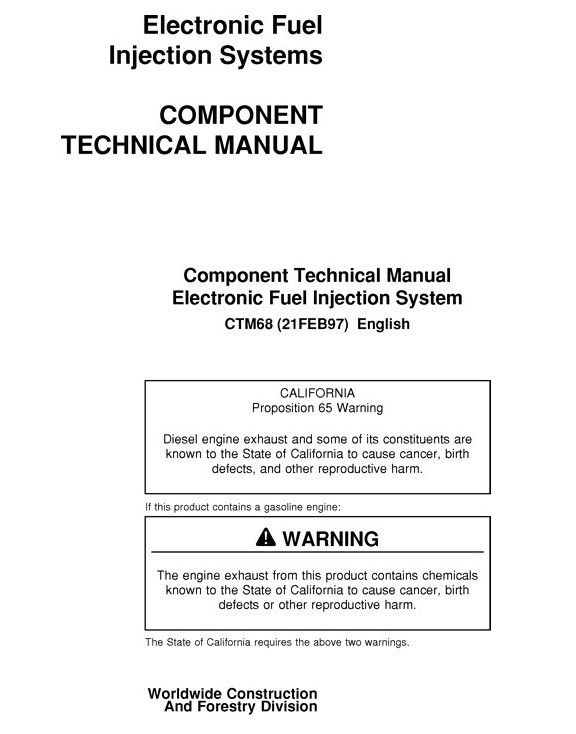 John Deere Electronic Fuel Injection Systems Component