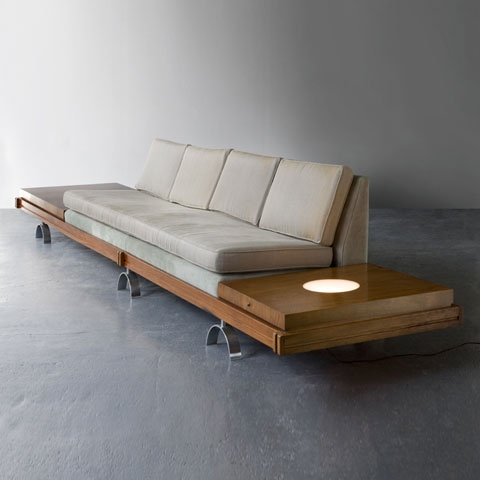 A sofa with built-in lights from the 'Challenge' series, designed by Martin Borenstein, for Croyden Furniture in the 50s. Offered by R 20th Century Gallery.
