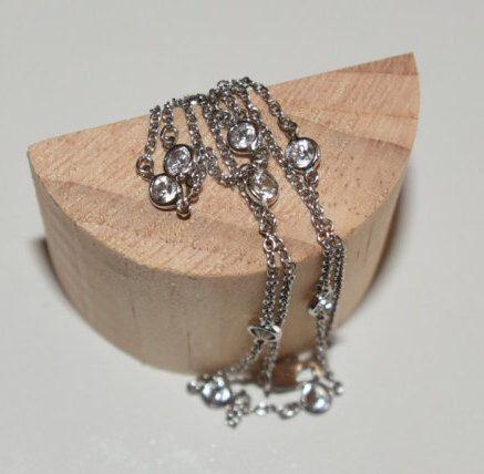 Elegant White gold filled Necklace, Sterling chain Necklace, Modern Bohemian white chain, Christmas gift for women, Birthday gift for her by HandmadeByLara on Etsy https://www.etsy.com/listing/477819597/elegant-white-gold-filled-necklace