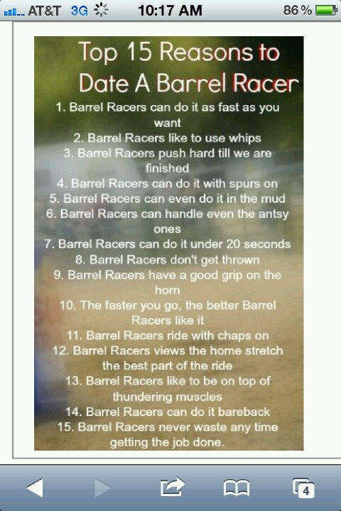 Barrel Racer for life! ;) I wonder how many people will take this wrong....