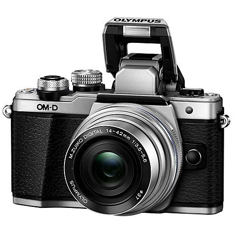 """Buy Olympus OM-D E-M10 Mark II Compact System Camera with 14-42mm EZ Lens, HD 1080p, 16.1MP, Wi-Fi, OLED EVF, 3"""" LCD Touch Screen, Silver Online at johnlewis.com"""