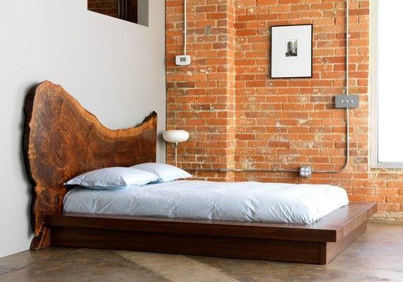 DIY headboard walnut  brick wall  reclaimed wood reclaimed headboard