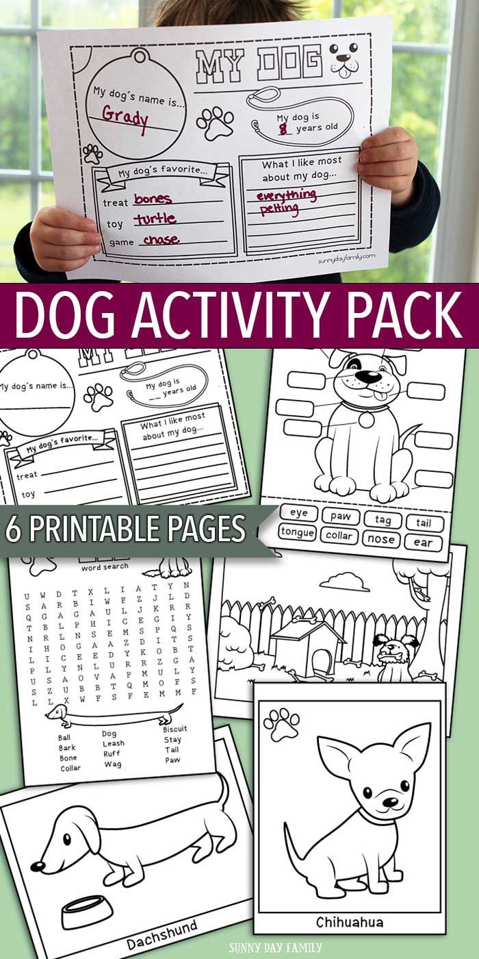 Printable Dog Activity Pack for kids! This 6 page printable set is perfect for a preschool pet theme, pet summer camp, dog themed birthday party, or just for fun. Includes 6 pages of interactive games and dog coloring pages. So much fun for little pet lovers!