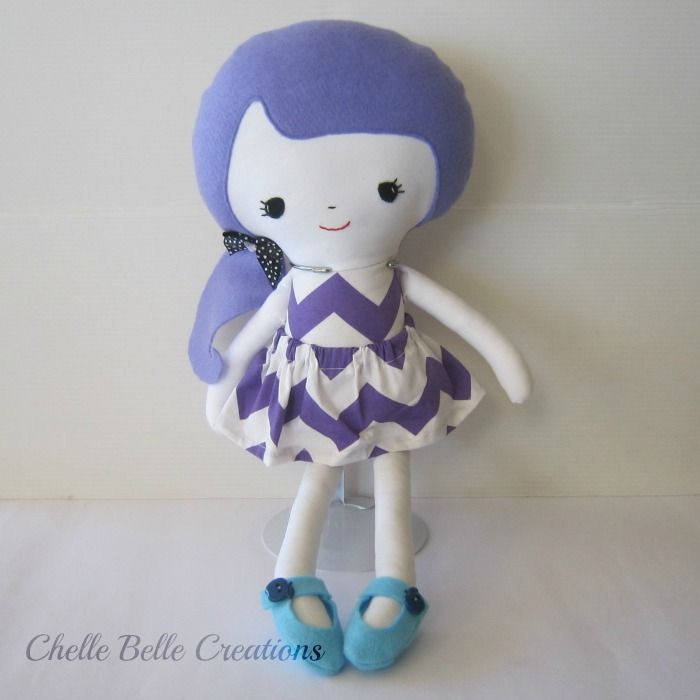 Purple Girl Softie Doll | Chelle Belle | madeit.com.au