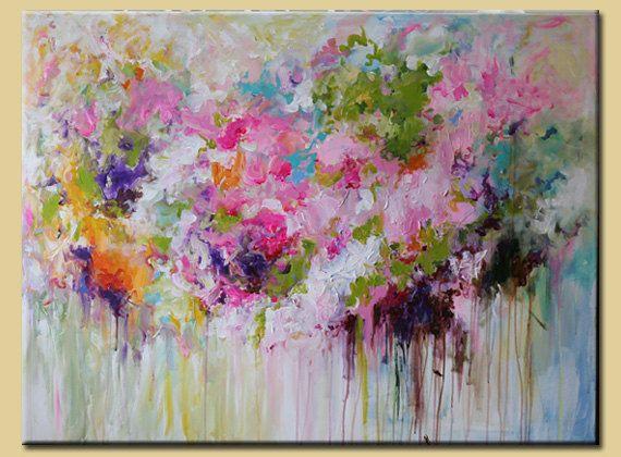 ORIGINAL pintura abstracta de Flor abstracta, arte abstracto, gran pintura abstracta, tonos pastel colorida sala deco Rosa acrílico