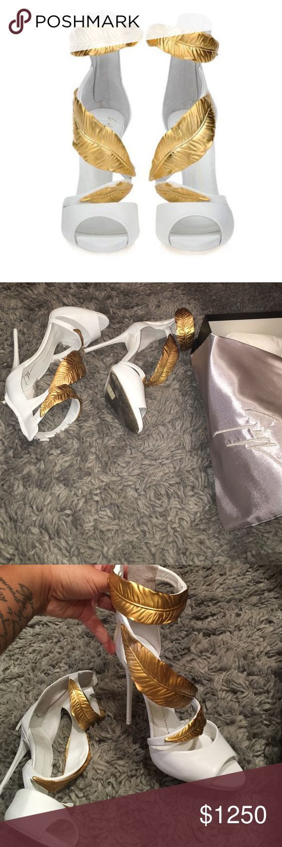 Giuseppe heels Leafy white heels willing to place more pics great condition worn 3 times purchased in 2014 no scuffs  just wear of the bottom. Original box original duster cheaper on Ⓜ️ ONLY !! Giuseppe Zanotti Shoes Heels