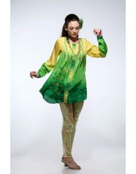 Yellow green ombre silk tunic