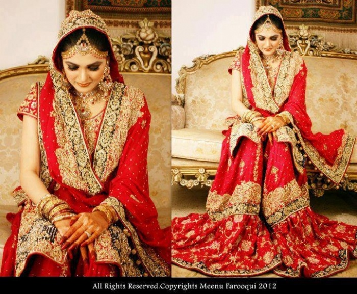 Red bridal gharara because what 39 s a muslim bride without for Indian muslim wedding dress