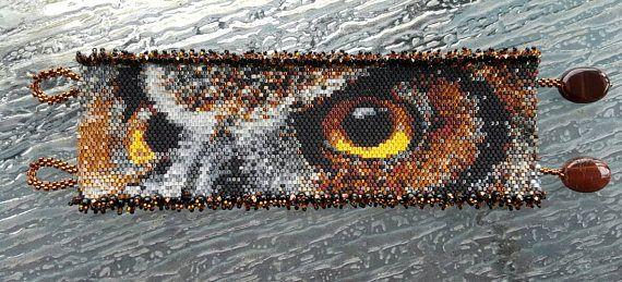 Check out this item in my Etsy shop https://www.etsy.com/listing/524743467/peyote-bracelet-owl-bracelet-beadwork