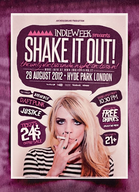 """Shake it Out"" – This flyer was designed to promote an Indie Rock / Electro / Dubstep / Alternative / Pop / Urban music event."