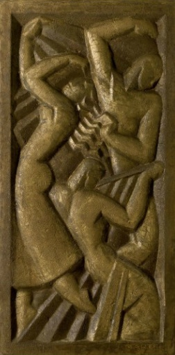 'LA DANSE', A GILDED AND PATINATED CONCRETE BAS-RELIEF, BY JAN & JOËL MARTEL, CIRCA 1927