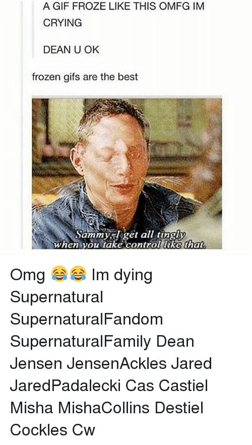 Crying, Frozen, and Gif: A GIF FROZE LIKE THIS OMFG IM   CRYING   DEAN U OK   frozen gifs are the best   Sammy, Elget all tingly   When you take control like hat  Omg  Im dying Supernatural SupernaturalFandom SupernaturalFamily Dean Jensen JensenAckles Jared JaredPadalecki Cas Castiel Misha MishaCollins Destiel Cockles Cw