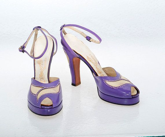 Vintage Shoes 40s Purple Leather Platform by littlethingsvintage. I wish I wore a 6. These are INCREDIBLE!