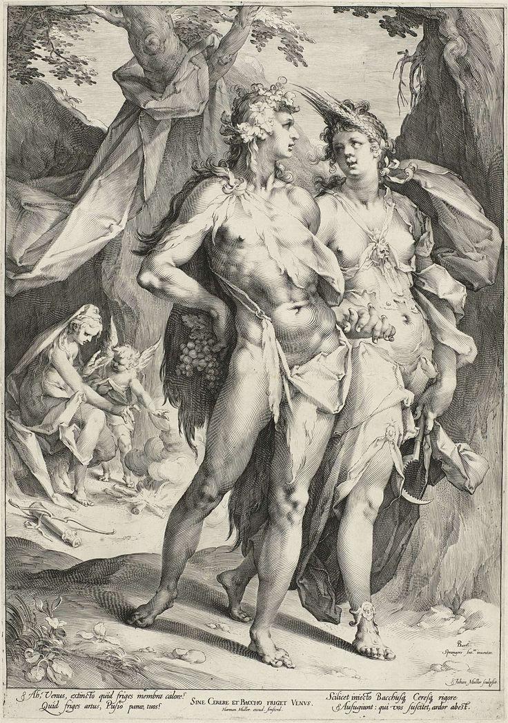 Jan Harmensz. Muller   Bacchus and Ceres Leaving Venus, Jan Harmensz. Muller, Harmen Jansz Muller, 1595 - 1599   Bacchus en Ceres verlaten Venus. Venus en Amor zitten bij een vuur, omdat ze het koud hebben. Illustratie van het gezegde 'Sine Cerere et Baccho friget Venus' (zonder Ceres en Bacchus heeft Venus het koud), oftewel, zonder eten en wijn bevriest de liefde.