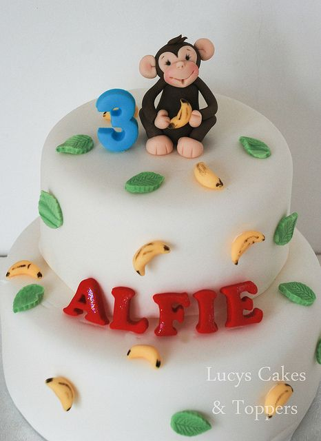 Monkey chimp birthday christening cake topper | Flickr - Photo Sharing!