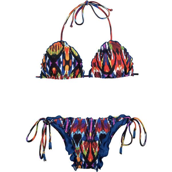 Lenny Niemeyer Women's swimwear Multi-coloured Brazilian Bikini And... (€200) ❤ liked on Polyvore featuring swimwear, bikinis, bikini tops, white, white triangle bikini, triangle bikini, fringe bikini and fringe bikini top