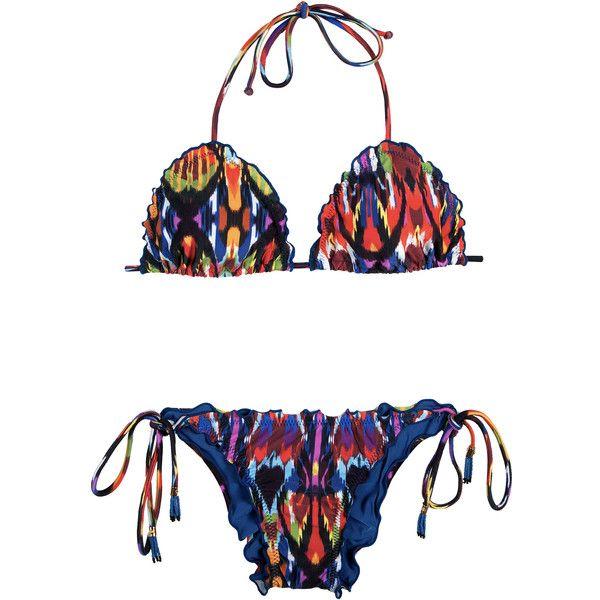 Lenny Niemeyer Women's swimwear Multi-coloured Brazilian Bikini And... (€200) ❤ liked on Polyvore featuring swimwear, bikinis, bikini tops, white, white triangle bikini, triangle bikini, fringe bikini and fringe bikini top