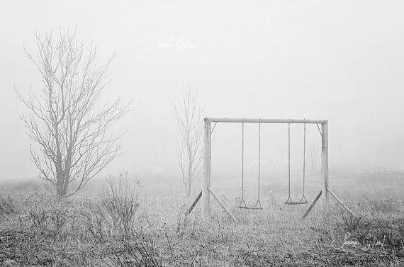 Minimalist Gray swing tree Photography Print by DreamsandNotions