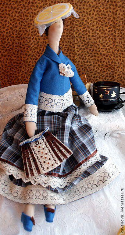 Купить Кофе с лимоном - тильда, текстильная кукла, интерьерная кукла, коллекционная кукла, подарок, кофейная