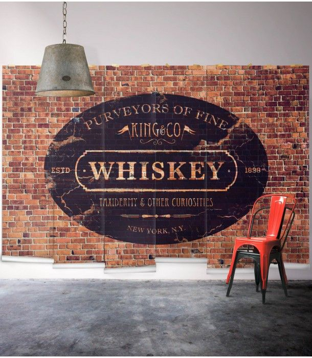 "Renovating your cafe or bar? Looking for a new wallpaper for your bachelor pad? We love our ""King & Co. Whiskey"" wall mural for a little touch of vintage mixed with a little fun."