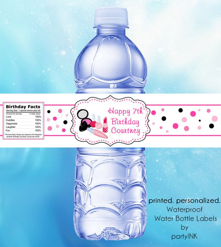 Spa Salon Party Waterproof Water Bottle Labels - Personalized Stickers, Party Favor Labels, Makeover Party, Slumber Party - Set of (25) by partyINK on Etsy