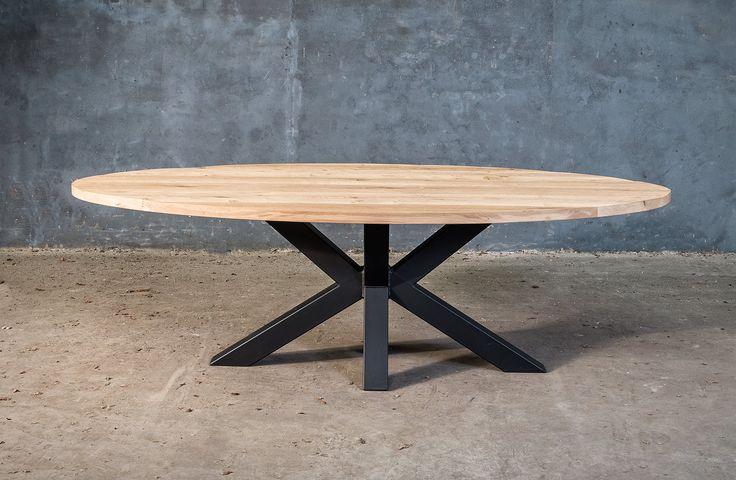 Massieve ovale tafel op metalen x poot diner pinterest for Tafel ontwerp