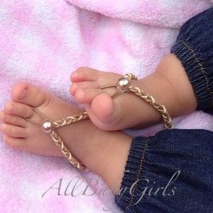 Gold Braided Baby Barefoot Sandals