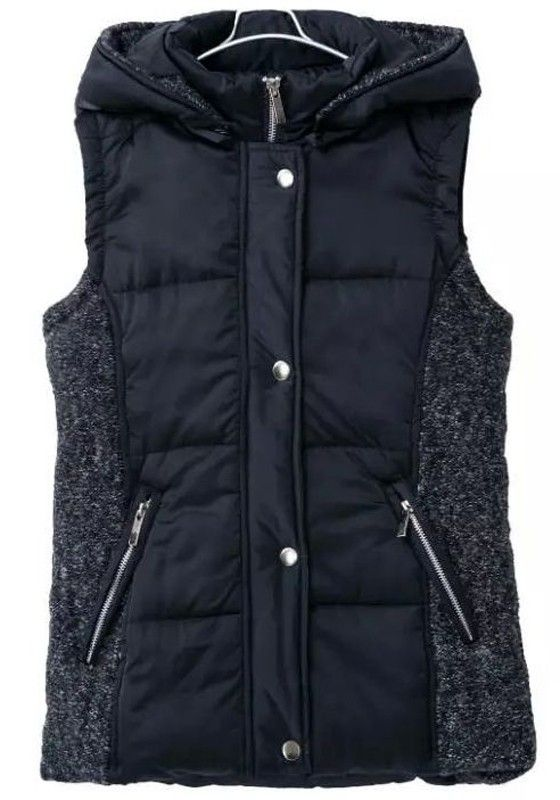 Navy Blue Plain Pockets Hooded Vest