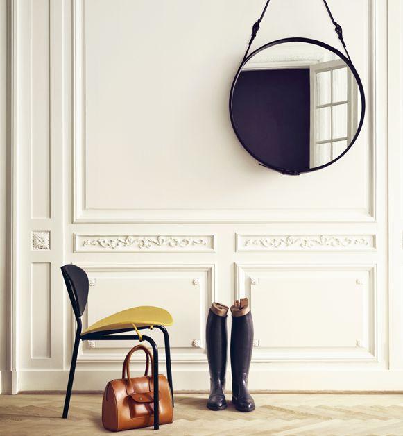 molding: Interior Design, Decor, Loses, Round Mirrors, Idea, Inspiration, Jacques Adnet, Interiors, Adnet Mirror