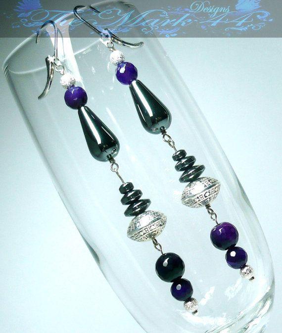 SALE 50% OFF Purple Agate UFO Mothership Earrings $7.50 on etsy  #giftsunder10 #ooak #handmade #themark44designs