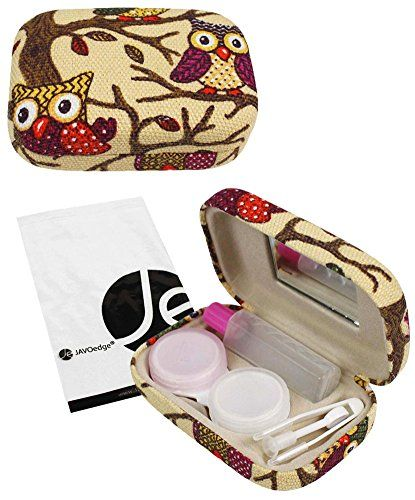 JAVOedge Beige Owl Print Contact Lens Travel Kit With Mirror, Solution Bottle, Tweezers And Twist Top Caps | ProHealthCure