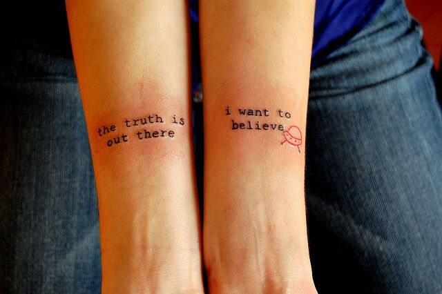 """The truth is out there. I want to believe"" - X-files tattoo! Plus awesome font"