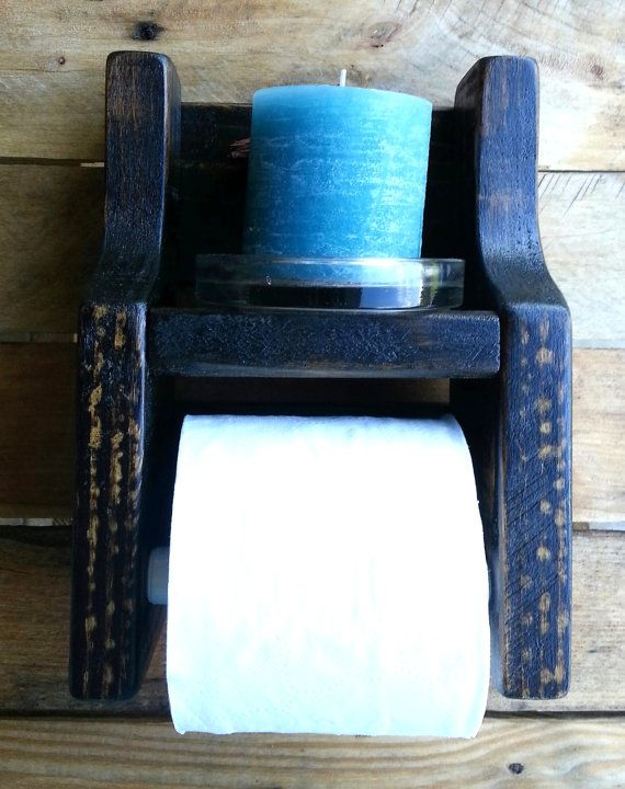 rustic toilet paper holder with shelf made from by