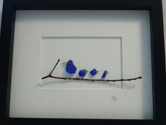 Blue Sea Glass Birds in 11 x 9 Shadow Box by RockyCoastDesigns
