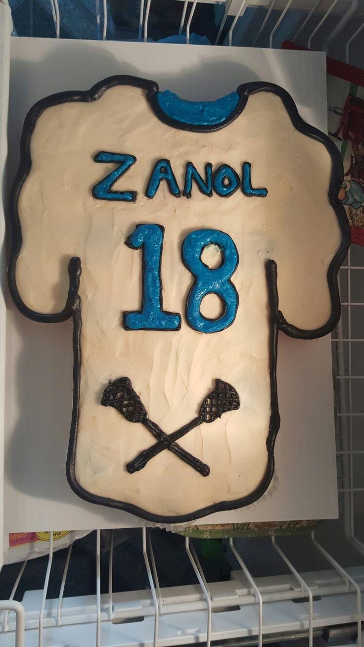 Brandon's 18th birthday lacrosse jersey cupcake cake