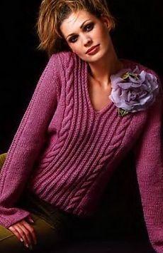 Пуловер с косами / Вязание спицами / Вязание для женщин спицами. Схемы