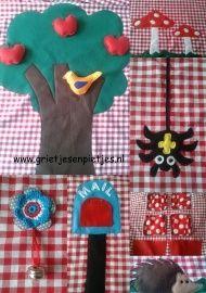 Tafeltent met diverse bosdiertjes en paddenstoelen