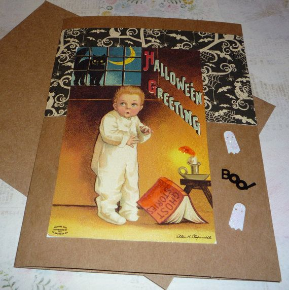 Upcycled Halloween Greeting Card  Litle Boy by CottonPicken