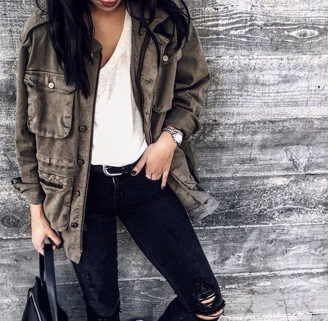 Pinterest: @eighthhorcruxx. Black ripped jeans, white tee and khaki jacket.