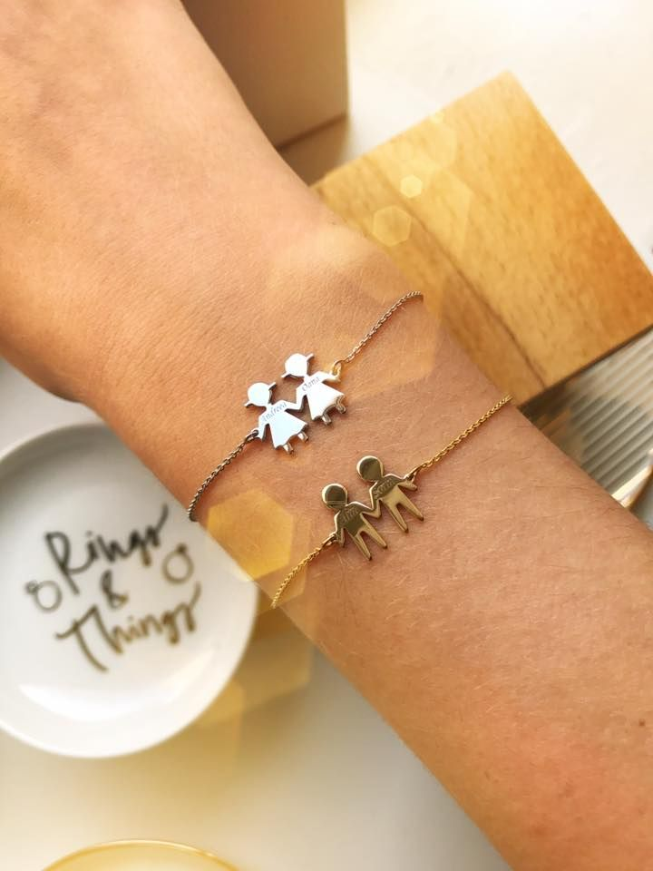 Boy and girl bracelet. Mothers jewelry. Bracelets for mothers. Mother's day gift. Lovebird bijuterii. Family gifts. lovebird.ro Bijuterii cu familie