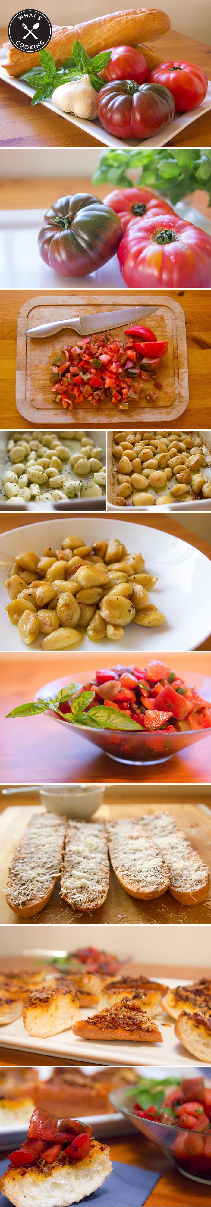 ... -to make the perfect roasted garlic bruschetta with tomato and basil