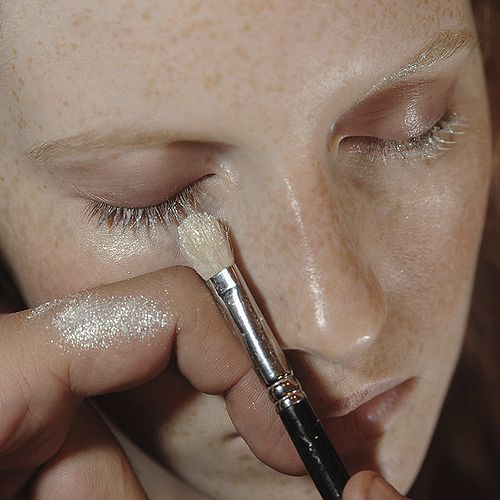 Shimmering makeup by MAC backstage at Sonia Rykiel Spring/Summer 2014- STYLE DECORUM http://www.styledecorum.com/