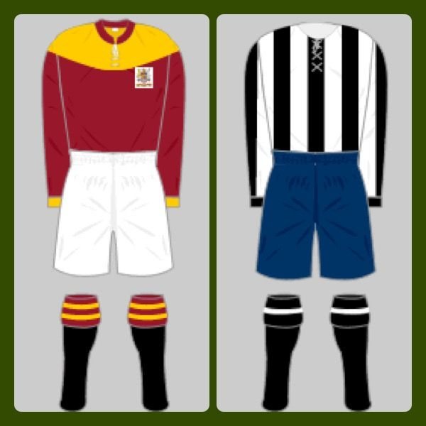 Bradford City 0 Newcastle Utd 0 in April 1911 (1-0 Replay win) at Crystal Palace. FA Cup Final colours.