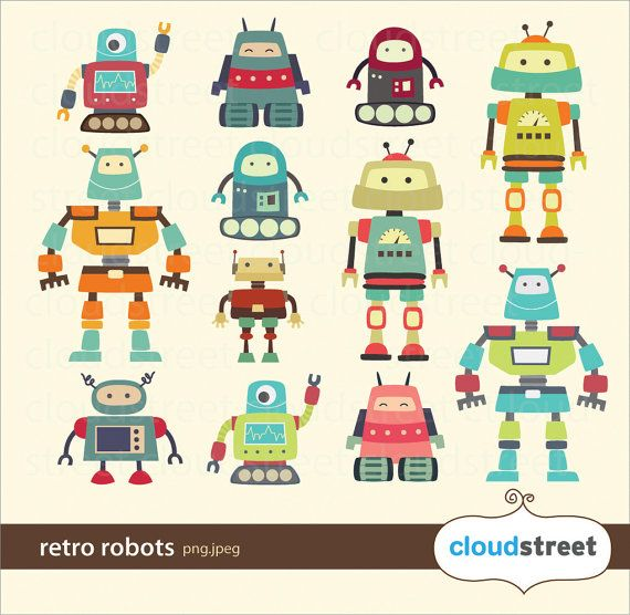Cute Robots Clipart for personal and commercial by cloudstreetlab, $4.95