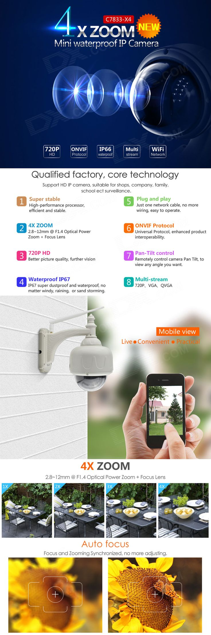 VSTARCAM C7833WIP-X4 720P 1.0MP PTZ Wireless IP Camera - Grey - Free Shipping - DealExtreme