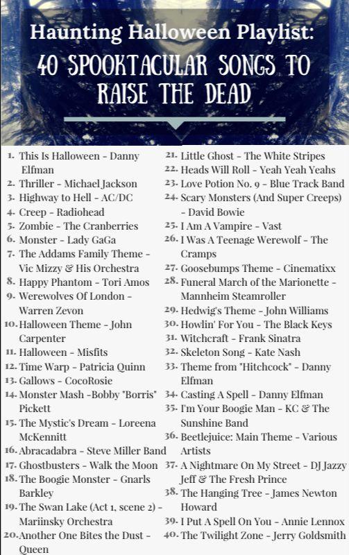 Haunting Halloween Playlist: 40 Spooktacular Songs to Raise the Dead - http://www.glitterandgrandeur.com/haunting-halloween-playlist/
