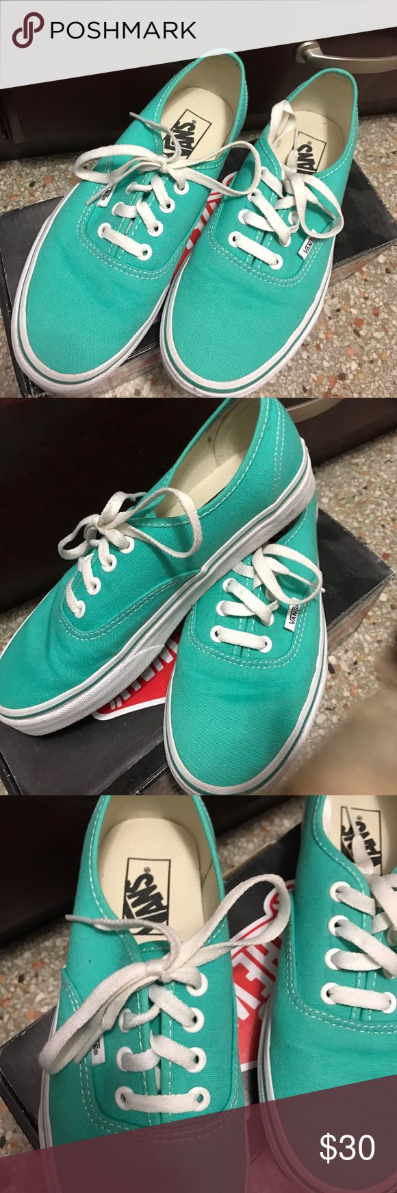Women's teal vans Women Authentic Vans collection. Teal blue with white. Bought these in Cali, wore them once & they ended up being the wrong size. They've been sitting around for 2 years 😞 unisex sizing: women's 7/ men 5.5 Vans Shoes Sneakers