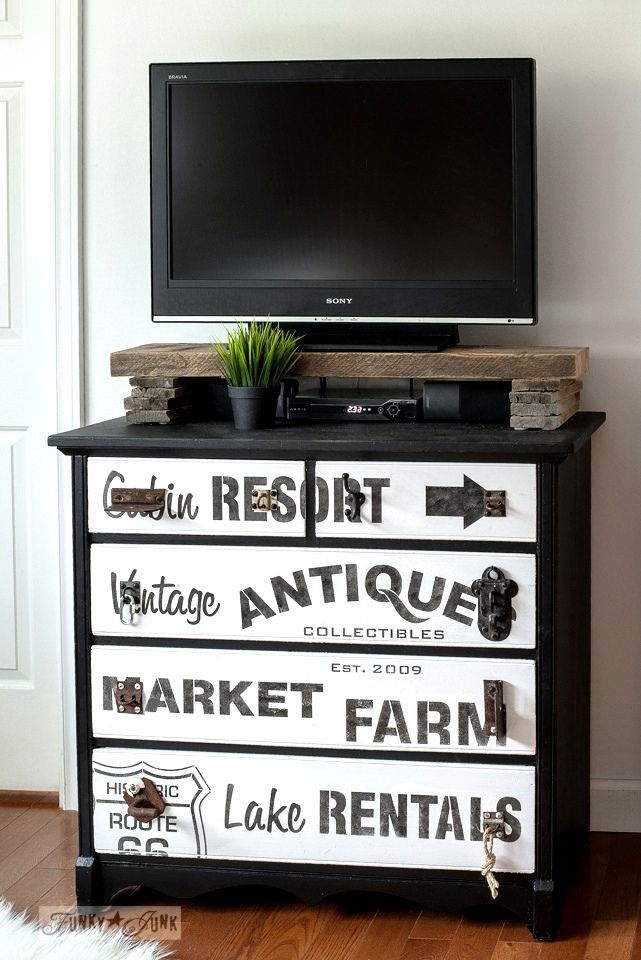 Subway sign styled dresser turned media stand with reclaimed wood shelf created with Funky Junk's Old Sign Stencils | funkyjunkinteriors.net