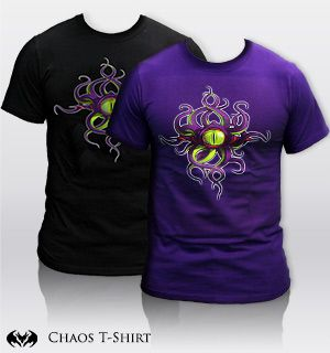 The common cold? Swine flu? Pffft, try warding off the infectious powers of CHAOS! Side effects of the Chaos Eye T-Shirt may include: the sudden appearance of tentacles, mutated eyeballs forming on your body, and the uncontrollable urge to cause mayhem wherever you go. If you can control the Chaos, then you will be greatly awarded with chaotic items in your favorite online adventure games!