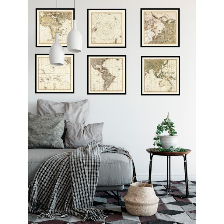 Antique World Map - Set of Six Square Maps. Handmade paper print from 109,99€. Shipment worldwide. World map on wall. Living room map decor.